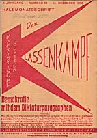 Der Klassenkampf. 4. Jahrgang. Nummer 24.…