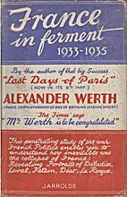 France in Ferment by Alexander Werth
