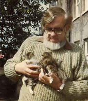 Author photo. Robert Westall and kittens/from author's homepage.