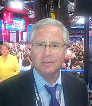 Author photo. Howard Fineman at the 2012 Republican National Convention in Tampa, Florida on Aug. 30, 2012 at the moment Romney was nominated.
