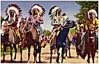 Indian Braves Lined Up for Parade
