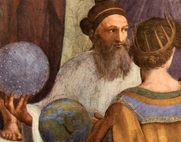 "Author photo. Pietro Cardinal Bembo as Zoroaster, detail from ""The School of Athens"" by Rafael, 1509-10."