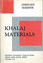 Khalaj Materials by Gerhard Doerfer