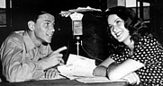 Author photo. A young Frank Sinatra does an interview<br> for one of the many programs produced by the<br> Armed Forces Radio Service for broadcast <br>to the troops overseas during World War II <br>(Armed Forces Radio and Television Service)