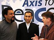Author photo. (left to right) Dieudonné Mbala Mbala, Thierry Meyssan and Michel Collon <a href=&quot;http://www.voltairenet.org/fr&quot;>« Source : Réseau Voltaire »</a>