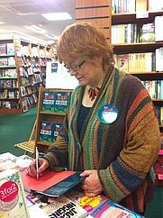 Author photo. Karen Wilde's picture taken at book signing, Abergavenny waterstones