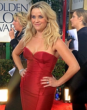 Fotografia de autor. Reese Witherspoo at the 69th Annual Golden Globes Awards 2012 [source: Jenn Deering Davis via Wikipedia]