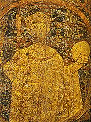 Foto do autor. Saint Stephen I of Hungary / Portrayal of Stephen I on the Hungarian coronation pall from 1031.