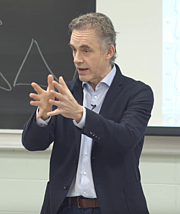 Foto do autor. Dr. Jordan Peterson delivering a lecture at the University of Toronto in 2017.