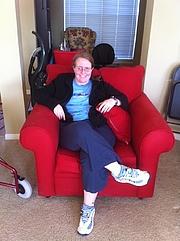 Författarporträtt. Sarah at home in Temple, Texas.