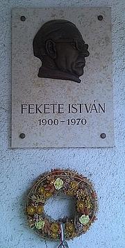 Författarporträtt. Plaque of István Fekete, Budapest District XII, Orbánhegyi Street No 7