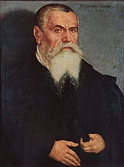 Forfatter foto. Portrait of Lucas Cranach the Elder by Lucas Cranach the Younger, 1550.