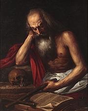 Foto do autor. El lienzo representa a San Jerónimo de Estridón (c.340-420), uno de los cuatro Padres de la Iglesia latinos, hacienda penitencia y leyendo. José María Rodríguez de Losada.