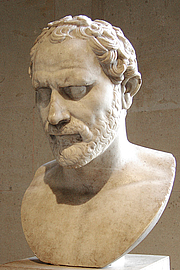 Fotografia de autor. Bust of the Greek orator Demosthenes. Marble, Roman artwork, inspired from a bronze statue by Polyeuctos (ca. 280 BC). Found in Italy. Louvre Museum, Department of Greek, Etruscan and Roman Antiquities, Sully, ground floor, room 17.
