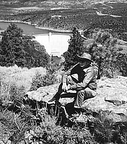 """Author photo. Carl Morris at Flaming Gorge, Colorado River Storage Project<br>Source: <a href=""""http://www.usbr.gov/museumproperty/art/biomorri.html"""">US Bureau of Reclamation Fine Art Collection</a>"""