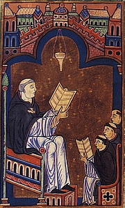 Foto do autor. Hugh of St. Victor with his monks, as depicted in a medieval manuscript.