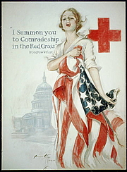 Författarporträtt. American Red Cross recruiting poster by Harrison Fisher, 1918 <br>(LoC Prints and Photographs Division,<br> LC-USZC4-1281)