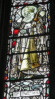 Foto do autor. Saint Cuthbert of Lindisfarne / Stained glass depicting St Cuthbert of Lindisfarne, from Gloucester Cathedral.