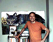 Forfatter foto. James Kochalka at home in Burlington, Vermont; August, 2000. Photo by Alan David Doane.