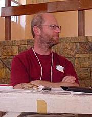 "Fotografia de autor. Jeremy Brecher at World Social Forum 3, Porto Alegre, Brazil, 2003. (courtesy of <a href=""http://www.zmag.org/photo6.htm"">ZNet</a>)"