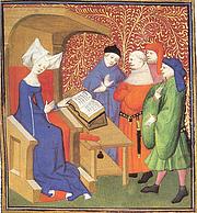 "Författarporträtt. Christine de Pizan lecturing men. <a href=""http://bcm.bc.edu/issues/winter_2010/endnotes/an-educated-lady.html"" rel=""nofollow"" target=""_top"">http://bcm.bc.edu/issues/winter_2010/endnotes/an-educated-lady.html</a>"