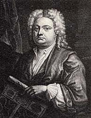 Forfatter foto. Mezzoprint portrait of Batty Langley by J.Carwith published in 1741.