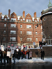 "Author photo. WGA strike supporters outside Harvard Lampoon building, Harvard Square, November 2007; photo by <A HREF=""http://www.flickr.com/people/sushiesque/"">sushiesque</A>"