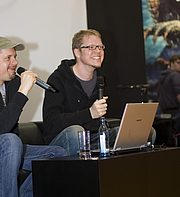 """Autoren-Bild. Ralph Ruthe (left) and Flix (right) at the Leipzig Book Fair. By OmiTs - Own work, CC BY-SA 3.0, <a href=""""https://commons.wikimedia.org/w/index.php?curid=9780258"""" rel=""""nofollow"""" target=""""_top"""">https://commons.wikimedia.org/w/index.php?curid=9780258</a>"""