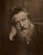 Kirjailijan kuva. Portrait of William Morris, aged 53 by Frederick Hollyer.