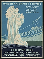 Foto auteur. Travel poster, National Park Service, circa 1938 <br>(LoC Prints and Photographs Division, <br>LC-DIG-ppmsca-13399)