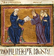 Foto do autor. St. Benedict delivering his Rule to St. Maurus and other monks of his order (France, Monastery of St. Gilles, Nimes, 1129)