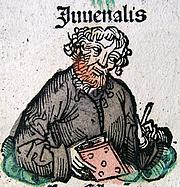 Kirjailijan kuva. Woodcut of Juvenal from the Nuremberg Chronicle, created in the late 1400s.