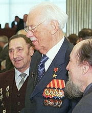"Author photo. Sergey Mikhalkov and veterans, Moscow, 2002.  <a href=""http://www.kremlin.ru"">Russian Presidential Press and Information Office</a>."