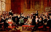 """Författarporträtt. This painting by John Rogers Herbert depicts a particularly controversial speech before the Assembly by Philip Nye against presbyterian church government.[1] By John Rogers Herbert - BBC Your Paintings (now available by Art UK), Public Domain, <a href=""""https://commons.wikimedia.org/w/index.php?curid=28250708"""" rel=""""nofollow"""" target=""""_top"""">https://commons.wikimedia.org/w/index.php?curid=28250708</a>"""