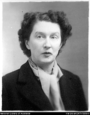 """Author photo. Portrait of author Christina Stead, 1940s? [picture] <br><a href=""""http://www.nla.gov.au"""">National Library of Australia</a>, nla.pic-an24717059"""