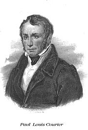 Author photo. published as part of Oeuvres complètes de P.-L. Courier. Nouvelle édition (Complete Works of Paul Louis Courier. New Edition), Paulin et Perrotin, Paris 1834