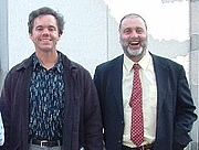 Forfatter foto. Michael Andre-Driussi (on left) Ultan's Library