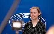 Fotografia de autor. Thunberg while speaking to the EU Parliament, Strasbourg, April 2019 / Photo by European Parliament