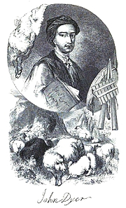 Forfatter foto. Portrait of the poet John Dyer provided by his relative W. H. Longstaffe and incorporated into 'The Bard of the Fleece', a design engraved by the Brothers Dalziel. It appeared in 'The Poems of Mark Akenside and John Dyer', ed. Robert Aris Wilmott, London 1855.