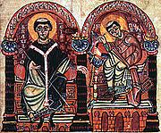Foto do autor. Saint Braulio of Saragossa / Braulio and Isidore of Seville. From the Isidori libri originum, second half of the 10th century.