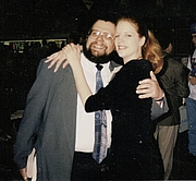 Author photo. Brian Thomsen and SF/Fantasy Book Cover Model, Lisa Feerick Pollison at the 1994 ABA Book Expo in Downtown Los Angeles [credit: Lisapollison from English Wikipedia]