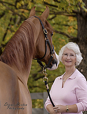 "Forfatter foto. Author Toni Leland and beautiful Arabian gelding ""Kopernican""."