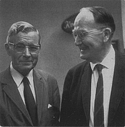 Forfatter foto. Douglas V. Steere (right) with the Finnish sociologist Heikki Waris in the 1950s.