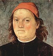 Författarporträtt. Detail from Self-Portrait, Fresco in Sala d'Udienza, Collegio del Cambio, Perugia, 1497-1500.