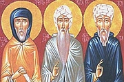 Foto do autor. Icon of Saints Ephrem, Isaac and Aphrahat / Classic Christianity
