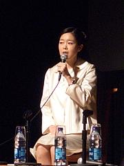 Author photo. Mariko Mori at the Japan Society Panel on Art & Nature 2010