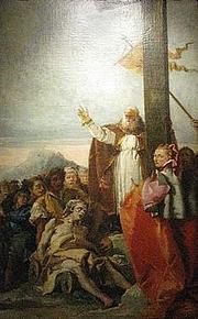 Foto do autor. Saint Macarius of Jerusalem / The Finding of the True Cross (Tintoretto), where Bishop Macarius blesses the sick with the True Cross.
