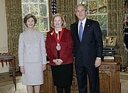 Author photo. Mary Ann Glendon, receiving the National Humanities Medal, 2005. White House photo by Eric Draper.