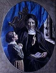 Foto do autor. Saint Angela Merici / Saint Angela Merici as a teacher. 19th century devotional painting, by P. Calzavacca