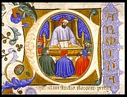 """Foto do autor. Initial depicting Boethius teaching his students from folio 4r of a manuscript of the Consolation of Philosophy (Italy?, 1385) By <a href=""""http://special.lib.gla.ac.uk/exhibns/treasures/boethius.html"""" rel=""""nofollow"""" target=""""_top"""">http://special.lib.gla.ac.uk/exhibns/treasures/boethius.html</a>, Public Domain, <a href=""""https://commons.wikimedia.org/w/index.php?curid=441108"""" rel=""""nofollow"""" target=""""_top"""">https://commons.wikimedia.org/w/index.php?curid=441108</a>"""